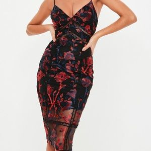 Missguided Embroidered Midi Dress